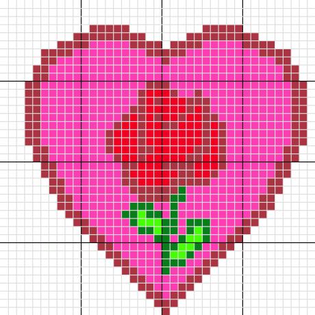 grille gratuite une tr s jolie rose dans un coeur perle repasser. Black Bedroom Furniture Sets. Home Design Ideas
