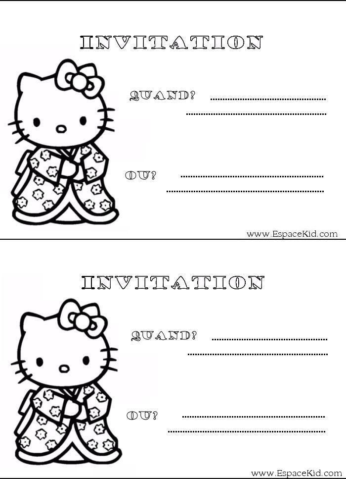 : Coloriage Carton d'invitation Hello Kitty dans Carton d'invitation
