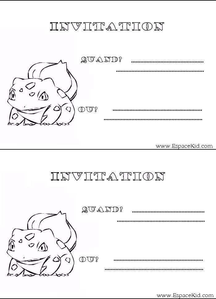 Fabuleux Coloriage Carton d'invitation Pokemon à imprimer dans les  SV18