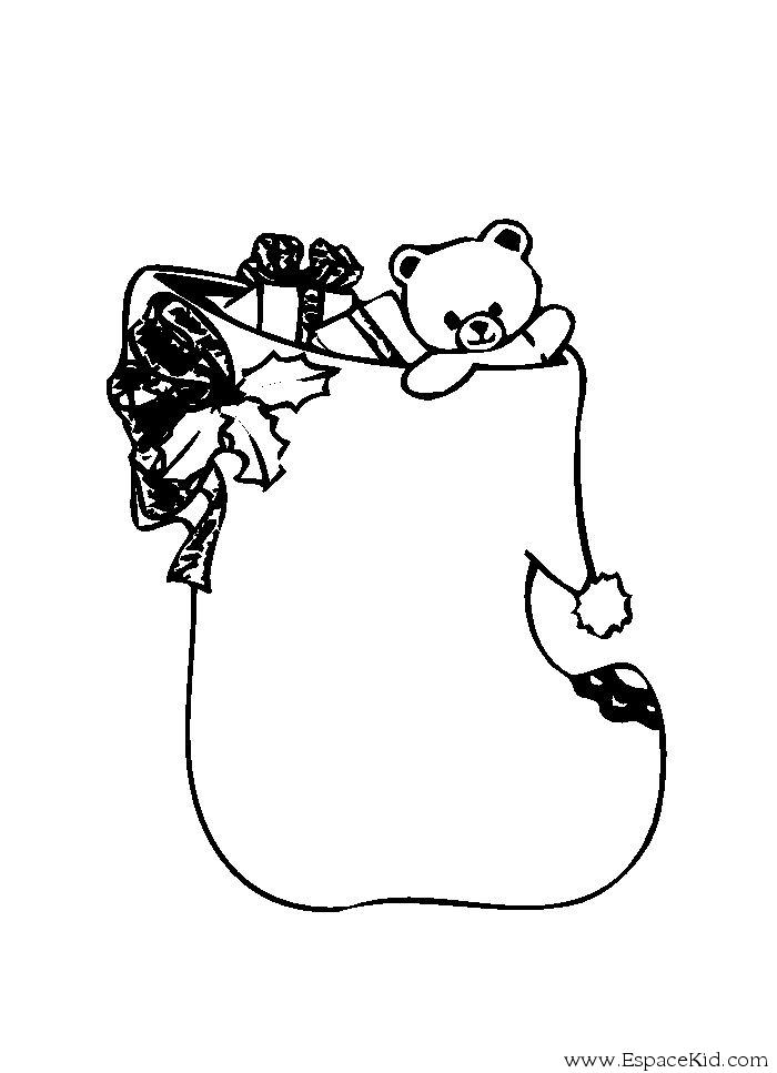 Coloriage Chaussette Nounours A Imprimer Dans Les Coloriages Chaussettes De Noel Dessin A Imprimer