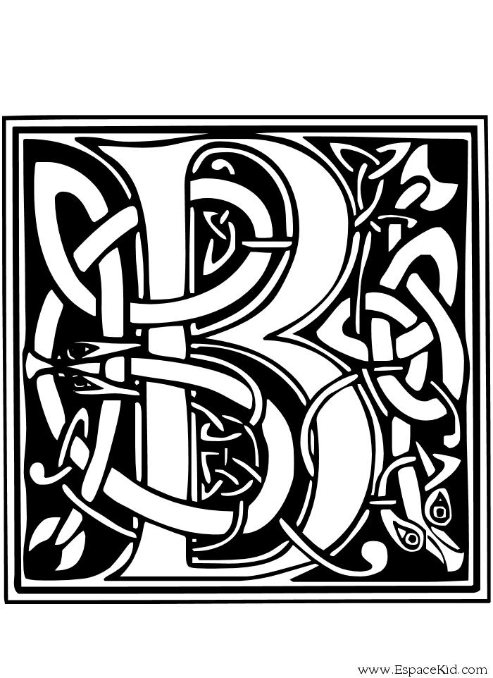 Coloriage Lettre B à imprimer dans les coloriages Lettrine Celte ...